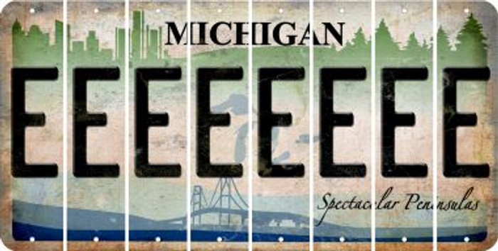 Michigan E Cut License Plate Strips (Set of 8) LPS-MI1-005