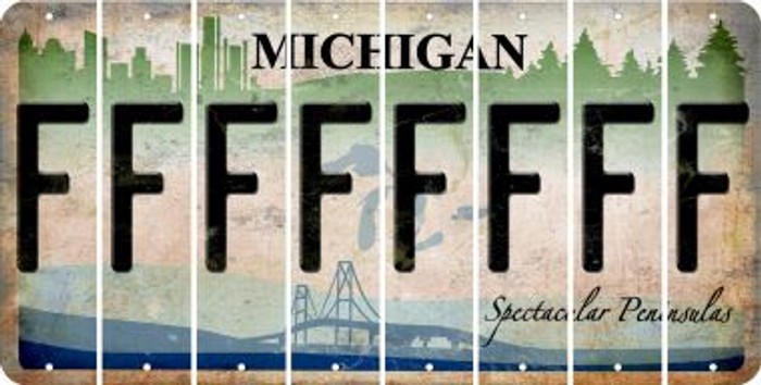 Michigan F Cut License Plate Strips (Set of 8) LPS-MI1-006