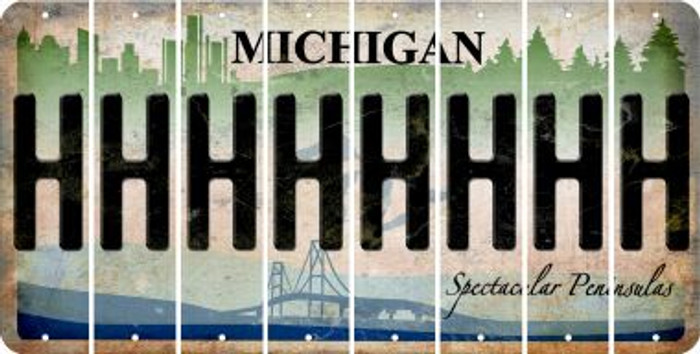 Michigan H Cut License Plate Strips (Set of 8) LPS-MI1-008