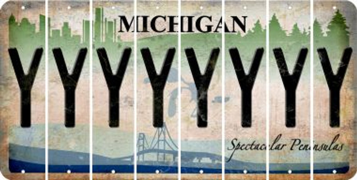 Michigan Y Cut License Plate Strips (Set of 8) LPS-MI1-025
