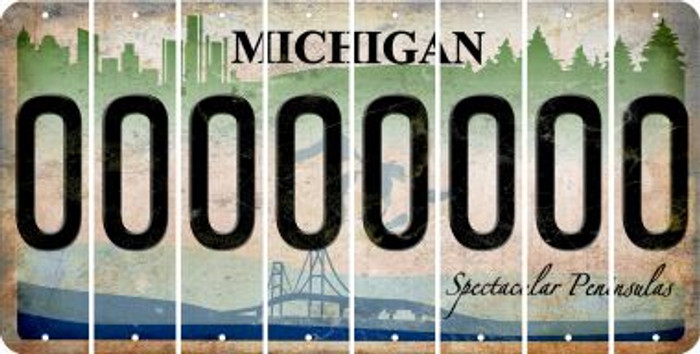 Michigan 0 Cut License Plate Strips (Set of 8) LPS-MI1-027