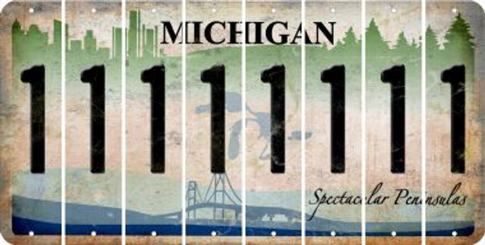 Michigan 1 Cut License Plate Strips (Set of 8) LPS-MI1-028
