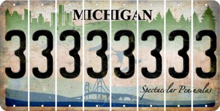 Michigan 3 Cut License Plate Strips (Set of 8) LPS-MI1-030