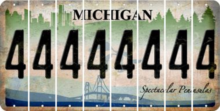 Michigan 4 Cut License Plate Strips (Set of 8) LPS-MI1-031