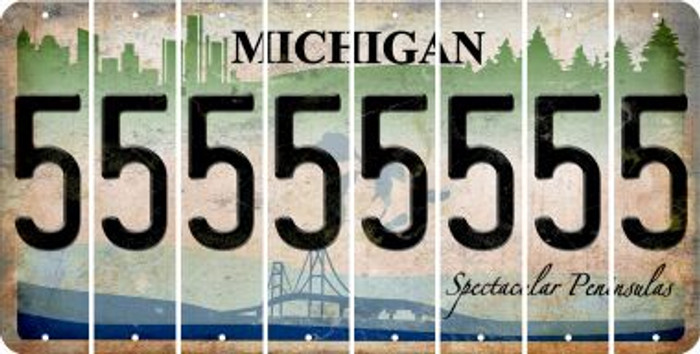 Michigan 5 Cut License Plate Strips (Set of 8) LPS-MI1-032