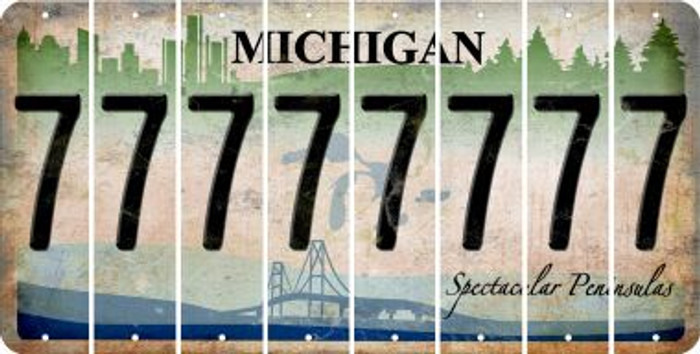 Michigan 7 Cut License Plate Strips (Set of 8) LPS-MI1-034