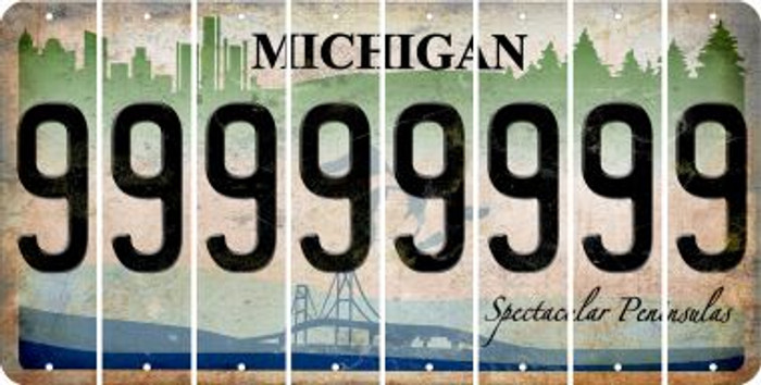 Michigan 9 Cut License Plate Strips (Set of 8) LPS-MI1-036