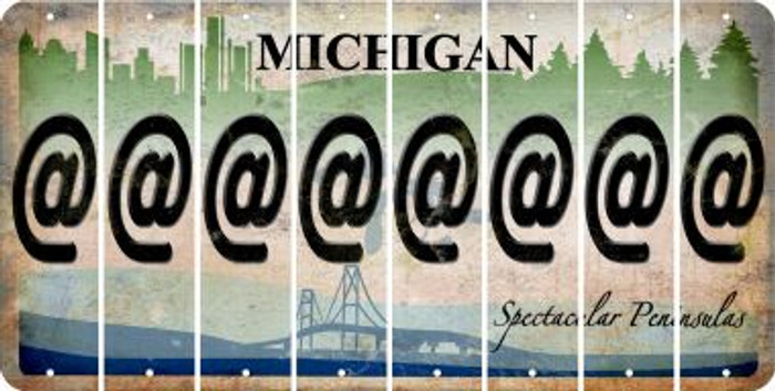 Michigan ASPERAND Cut License Plate Strips (Set of 8) LPS-MI1-039