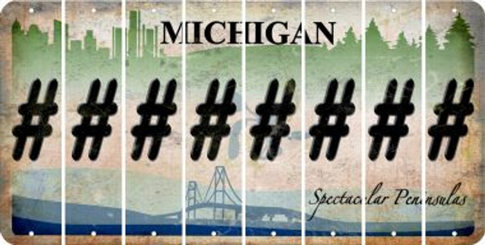 Michigan HASHTAG Cut License Plate Strips (Set of 8) LPS-MI1-043