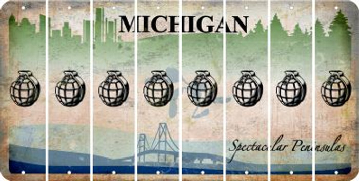 Michigan HAND GRENADE Cut License Plate Strips (Set of 8) LPS-MI1-050