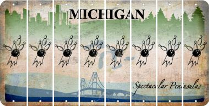 Michigan BOWLING Cut License Plate Strips (Set of 8) LPS-MI1-059