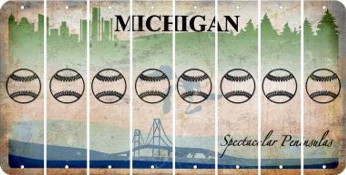 Michigan BASEBALL / SOFTBALL Cut License Plate Strips (Set of 8) LPS-MI1-063