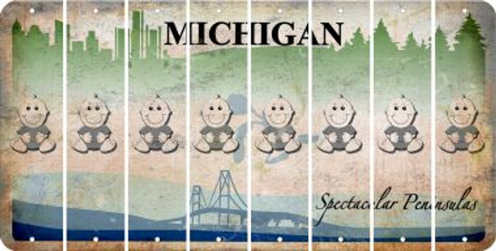 Michigan BABY BOY Cut License Plate Strips (Set of 8) LPS-MI1-066