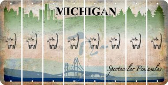 Michigan CAT Cut License Plate Strips (Set of 8) LPS-MI1-072
