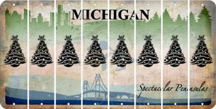 Michigan CHRISTMAS TREE Cut License Plate Strips (Set of 8) LPS-MI1-077