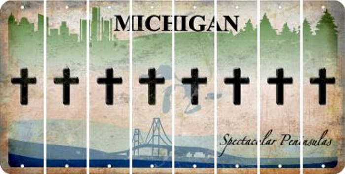 Michigan CROSS Cut License Plate Strips (Set of 8) LPS-MI1-083