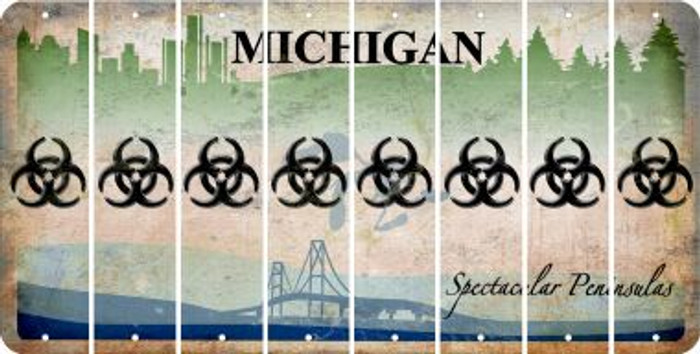 Michigan BIO HAZARD Cut License Plate Strips (Set of 8) LPS-MI1-084