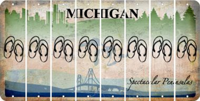 Michigan FLIP FLOPS Cut License Plate Strips (Set of 8) LPS-MI1-085