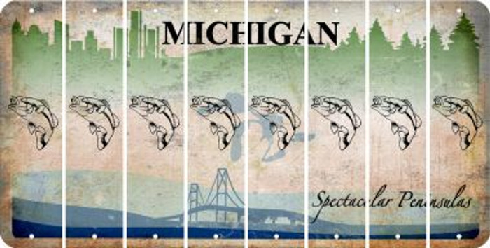 Michigan FISH Cut License Plate Strips (Set of 8) LPS-MI1-086