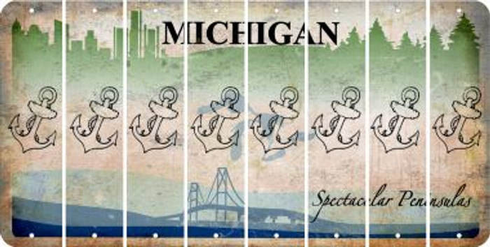 Michigan ANCHOR Cut License Plate Strips (Set of 8) LPS-MI1-093