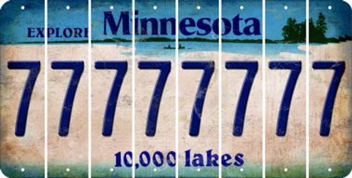 Minnesota 7 Cut License Plate Strips (Set of 8) LPS-MN1-034