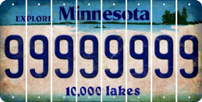 Minnesota 9 Cut License Plate Strips (Set of 8) LPS-MN1-036
