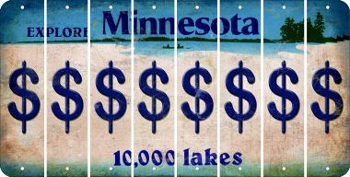 Minnesota DOLLAR SIGN Cut License Plate Strips (Set of 8) LPS-MN1-040