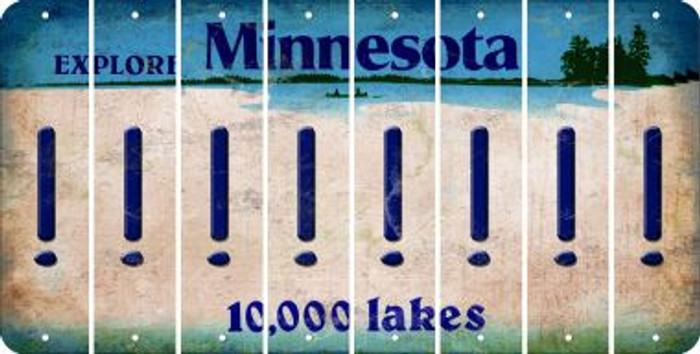 Minnesota EXCLAMATION POINT Cut License Plate Strips (Set of 8) LPS-MN1-041