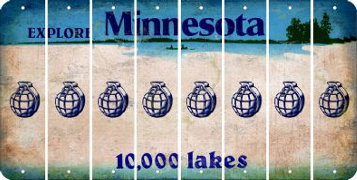 Minnesota HAND GRENADE Cut License Plate Strips (Set of 8) LPS-MN1-050