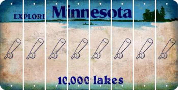 Minnesota BASEBALL WITH BAT Cut License Plate Strips (Set of 8) LPS-MN1-057