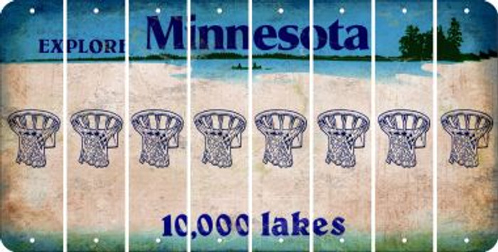 Minnesota BASKETBALL HOOP Cut License Plate Strips (Set of 8) LPS-MN1-058