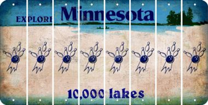 Minnesota BOWLING Cut License Plate Strips (Set of 8) LPS-MN1-059