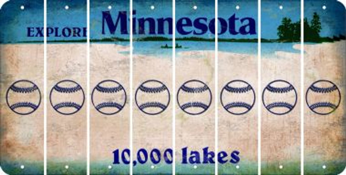 Minnesota BASEBALL / SOFTBALL Cut License Plate Strips (Set of 8) LPS-MN1-063