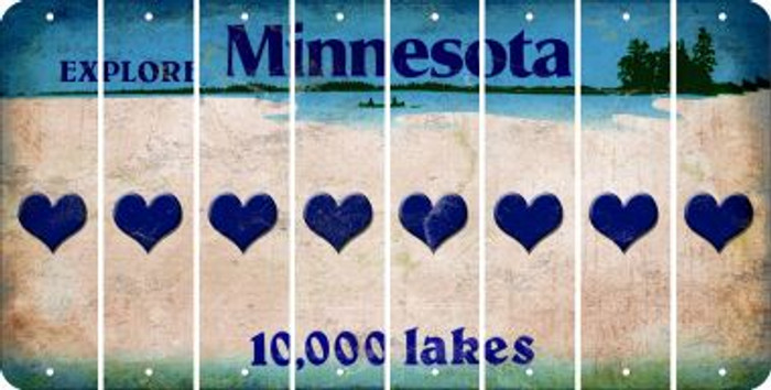 Minnesota HEART Cut License Plate Strips (Set of 8) LPS-MN1-081