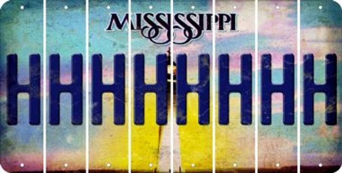Mississippi H Cut License Plate Strips (Set of 8) LPS-MS1-008