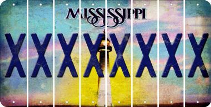 Mississippi X Cut License Plate Strips (Set of 8) LPS-MS1-024