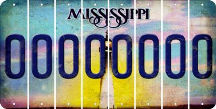 Mississippi 0 Cut License Plate Strips (Set of 8) LPS-MS1-027
