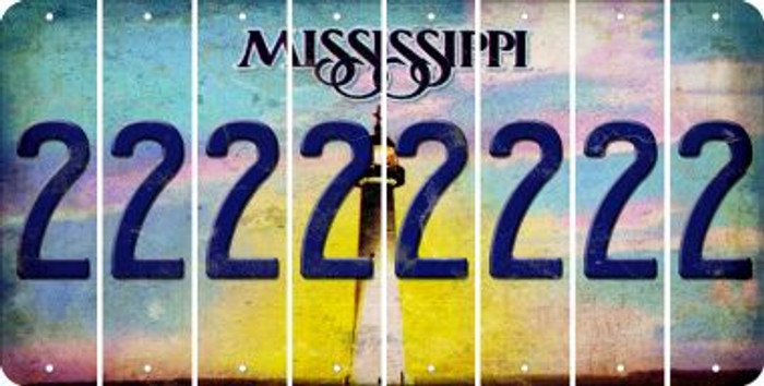 Mississippi 2 Cut License Plate Strips (Set of 8) LPS-MS1-029