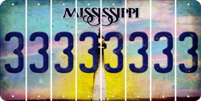 Mississippi 3 Cut License Plate Strips (Set of 8) LPS-MS1-030