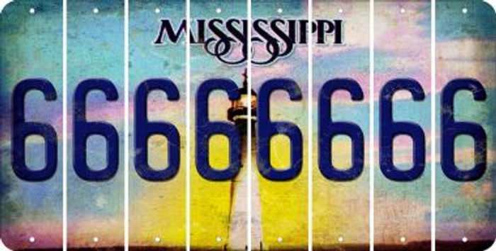 Mississippi 6 Cut License Plate Strips (Set of 8) LPS-MS1-033