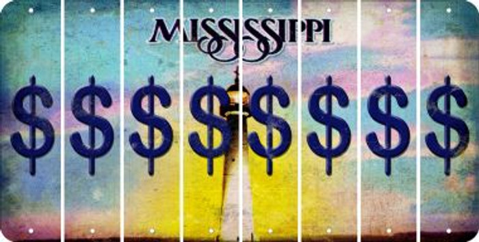 Mississippi DOLLAR SIGN Cut License Plate Strips (Set of 8) LPS-MS1-040
