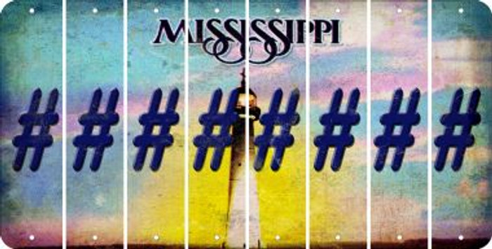Mississippi HASHTAG Cut License Plate Strips (Set of 8) LPS-MS1-043