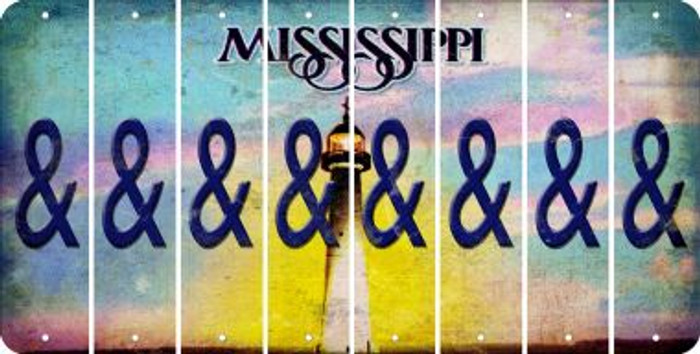 Mississippi AMPERSAND Cut License Plate Strips (Set of 8) LPS-MS1-049