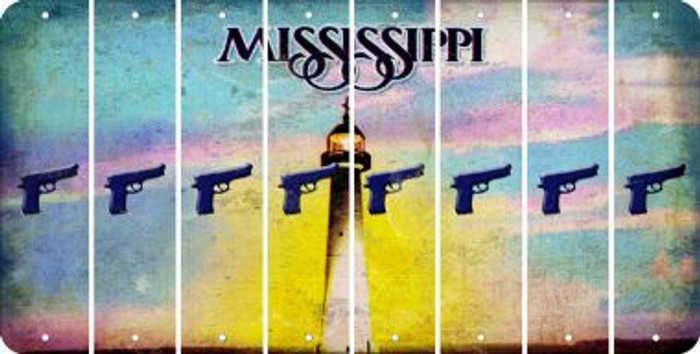 Mississippi HANDGUN Cut License Plate Strips (Set of 8) LPS-MS1-051