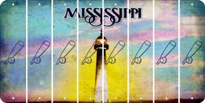 Mississippi BASEBALL WITH BAT Cut License Plate Strips (Set of 8) LPS-MS1-057