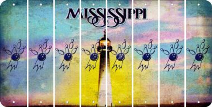 Mississippi BOWLING Cut License Plate Strips (Set of 8) LPS-MS1-059
