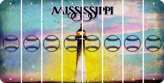 Mississippi BASEBALL / SOFTBALL Cut License Plate Strips (Set of 8) LPS-MS1-063