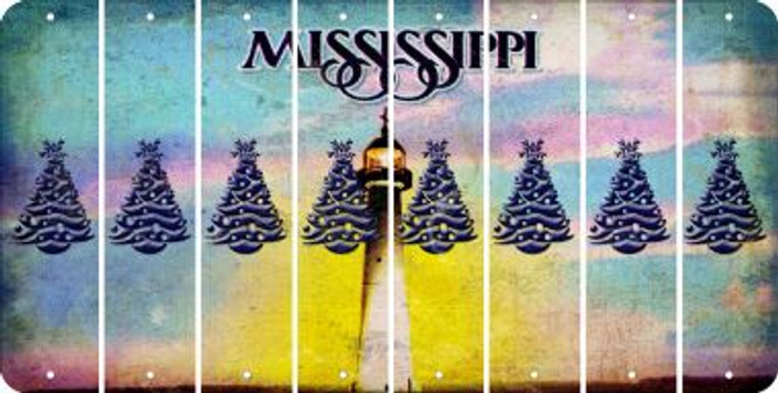 Mississippi CHRISTMAS TREE Cut License Plate Strips (Set of 8) LPS-MS1-077