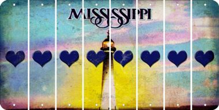 Mississippi HEART Cut License Plate Strips (Set of 8) LPS-MS1-081
