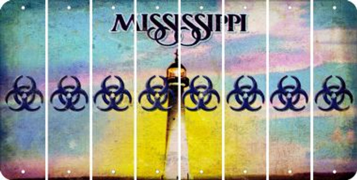 Mississippi BIO HAZARD Cut License Plate Strips (Set of 8) LPS-MS1-084